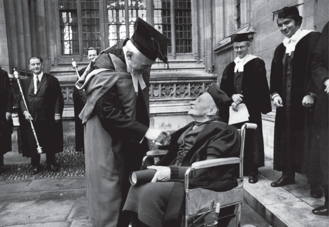 Mabel FitzGerald, M.A., after the degree award ceremony in Oxford 1972