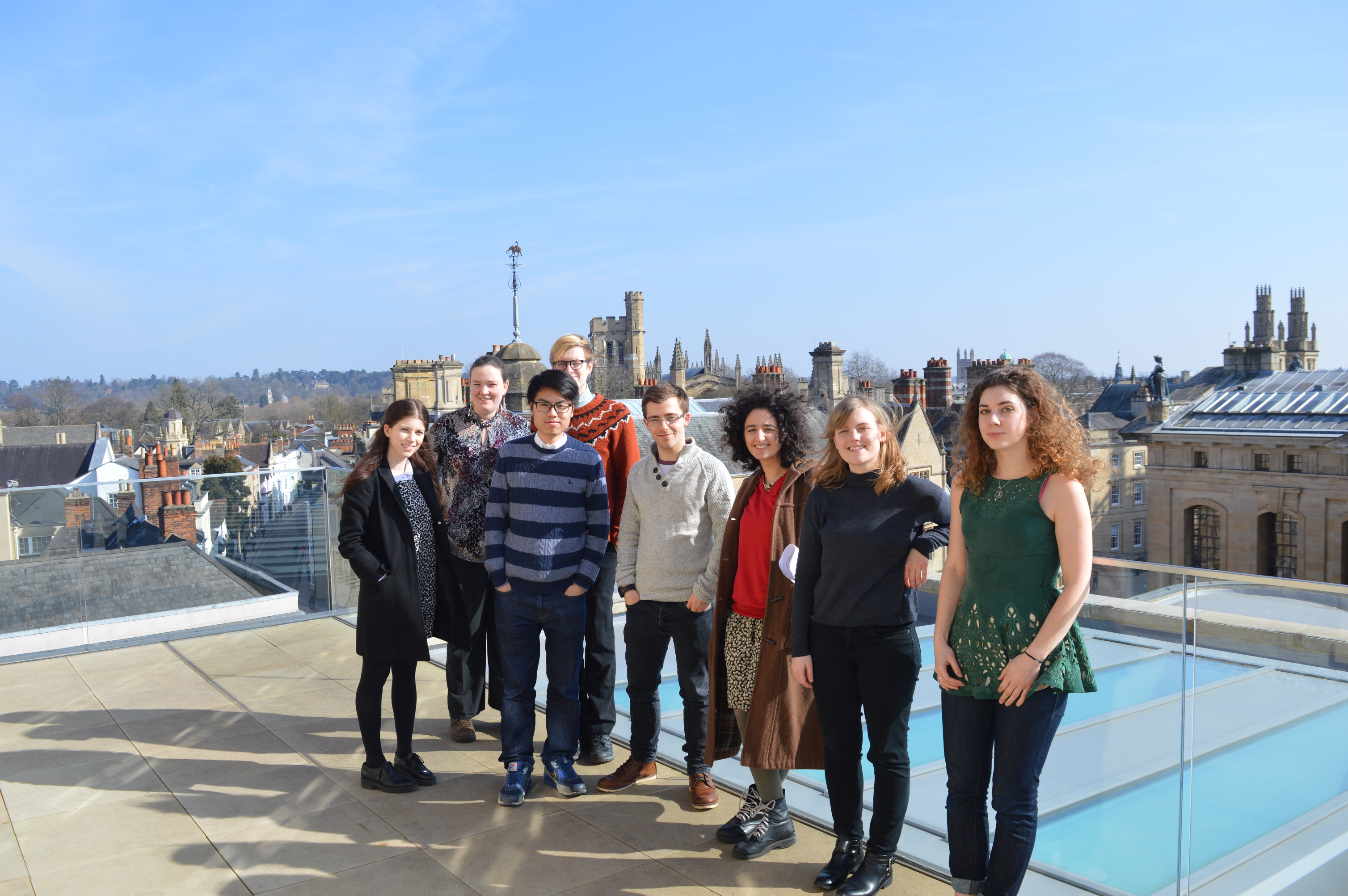Web archiving micro-interns on the roof of the Weston Library, March 2016.