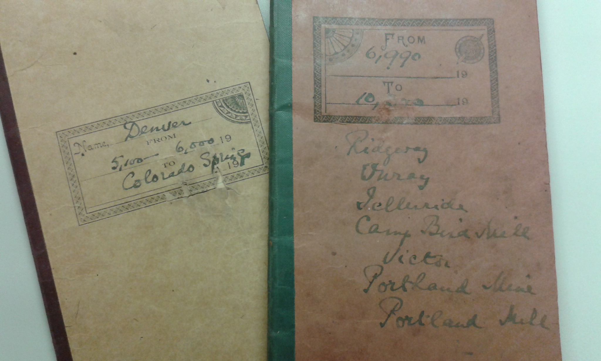 Mabel FitzGerald's field notes from the Pikes Peak expedition, 1911.