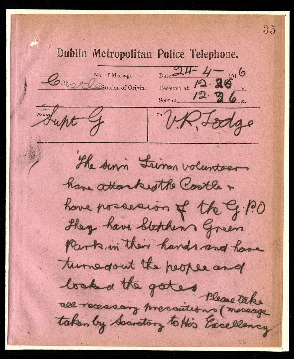 Dublin Metropolitan Police report, 24 April 1916 - MS. Nathan 476, fol. 35