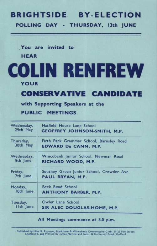 Colin Renfrew Public Meetings List