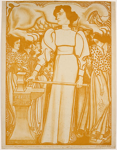 Poster for the 1898 National Exhibition of Women's Labour, Netherlands (Gemeentemuseum, The Hague). Uploaded to wikicommons by Jan Toorop.