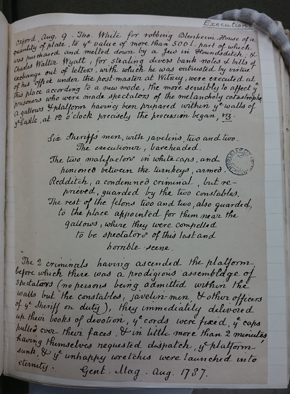 A description of the execution of Thomas White and Charles Walter Wyatt, from MS. Top. Oxon. d. 180, fol. 68.