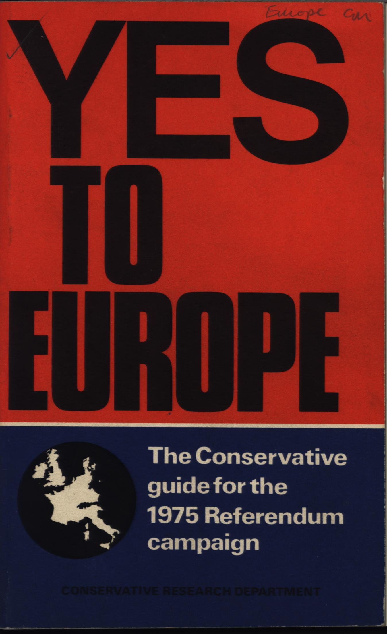 Yes to Europe pamphlet