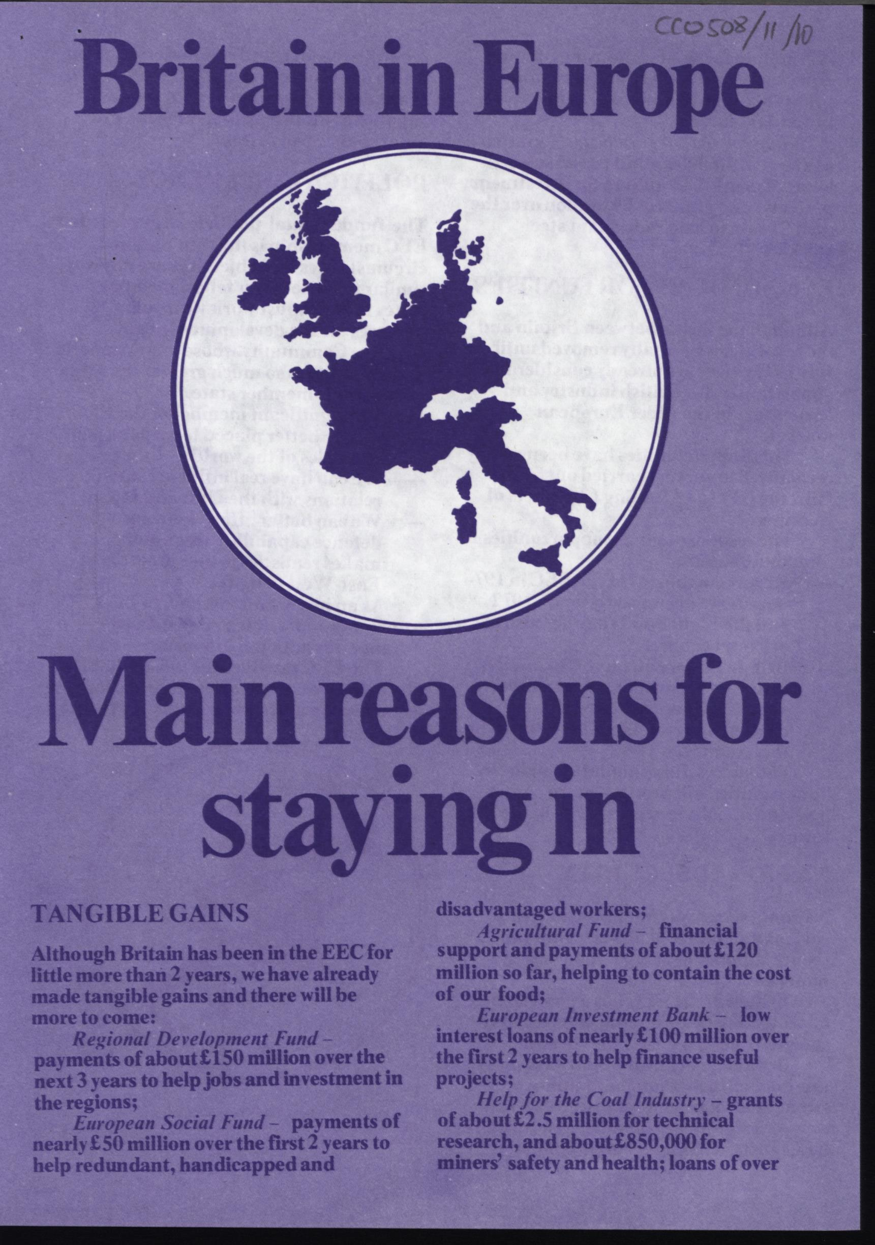 Staying In campaign leaflet