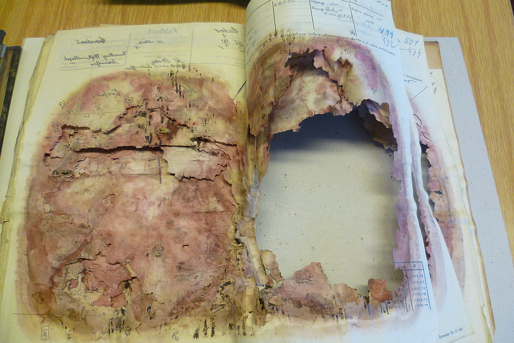 Mould damage in archives