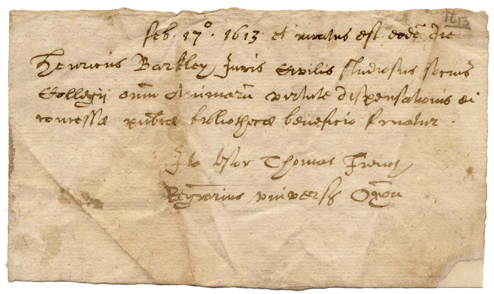 Image of earliest known Bodleian reader's card
