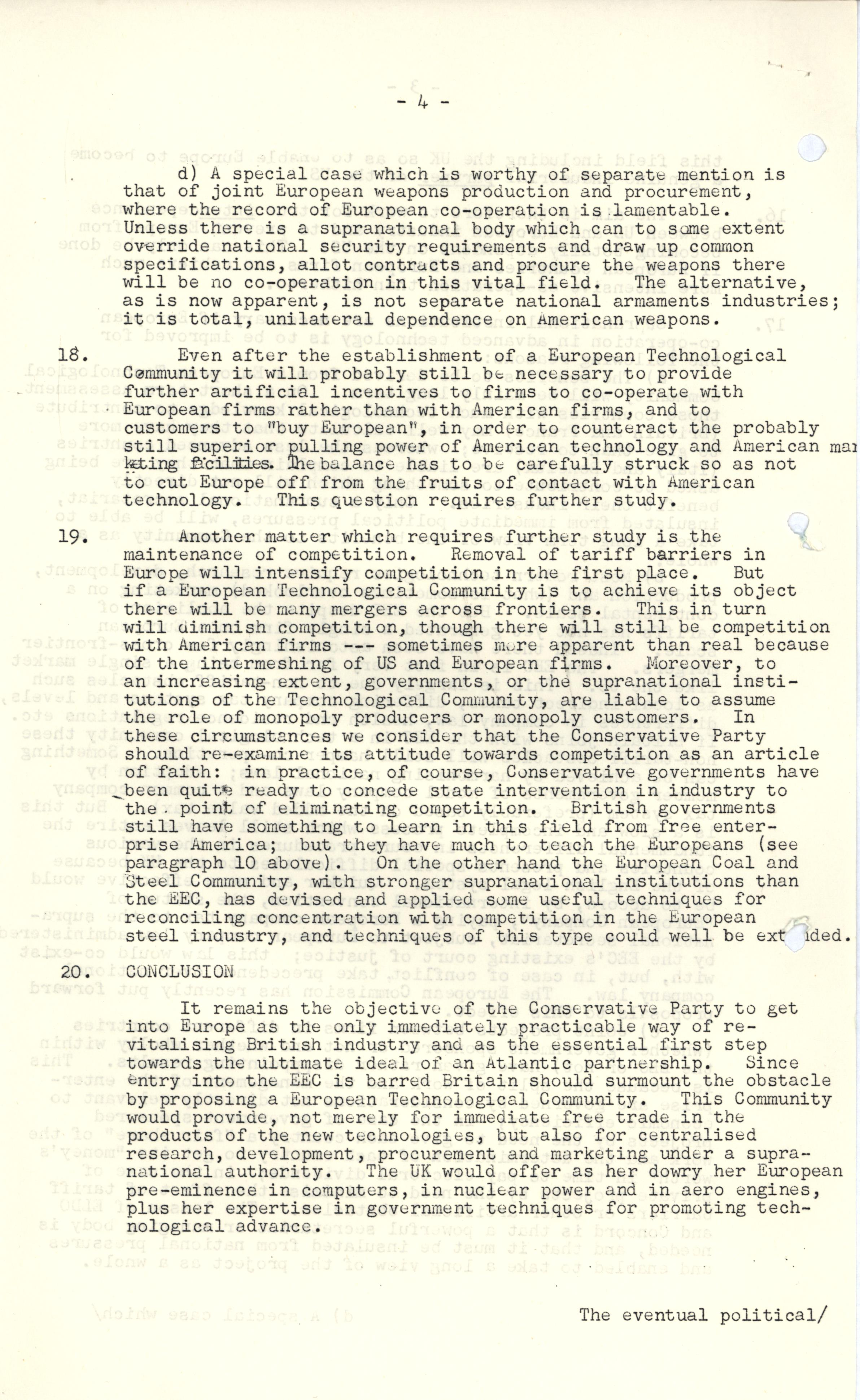 CRD 3/10/2/3: 'Preliminary Report by the Industrial Sub-Group' for the Committee on Europe (c. Nov-Dec 1966).
