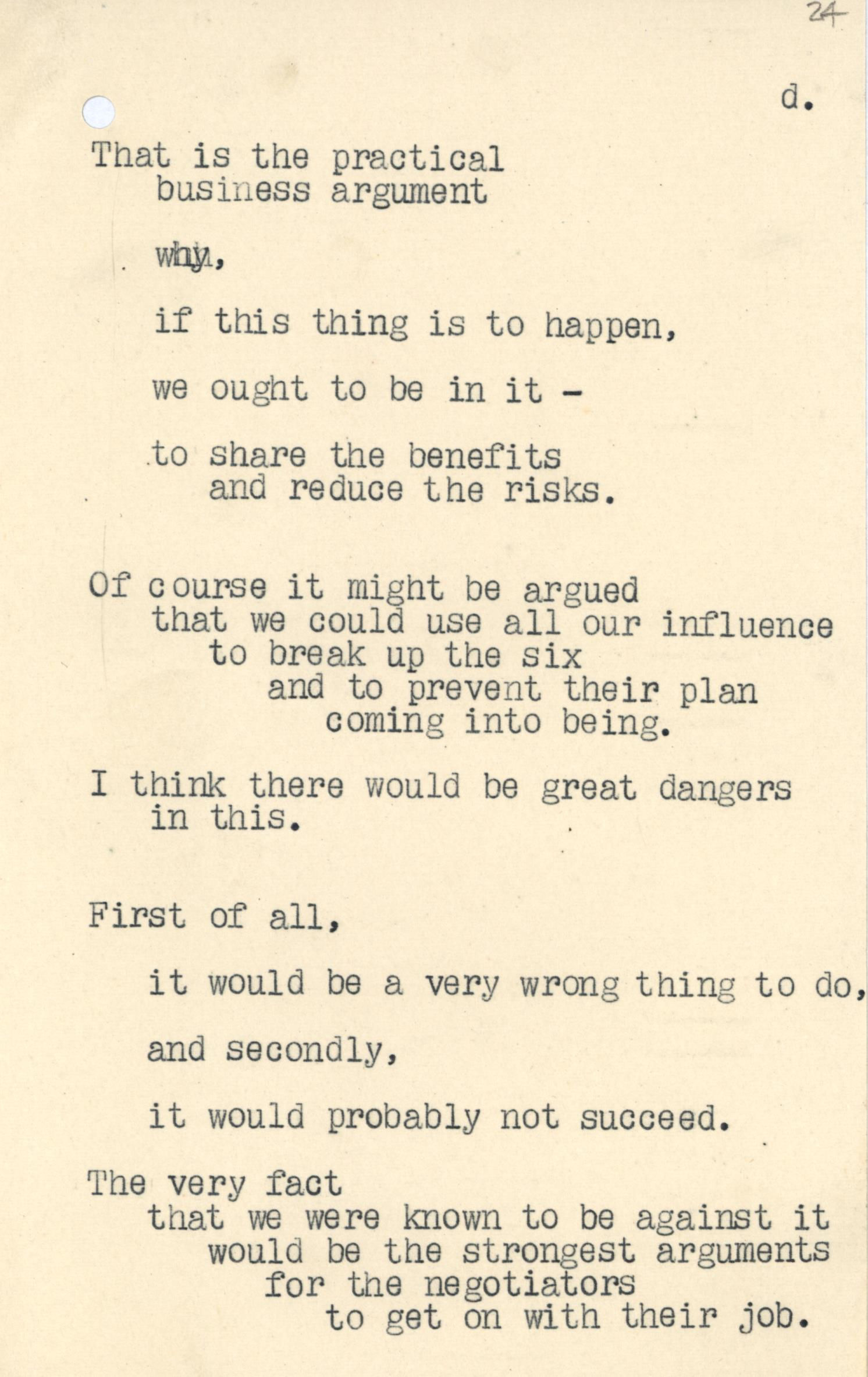 MS. Macmillan dep. c. 920, fol. 24: Luncheon Speech for European Free Trade Area, 20 Feb 1957. Reproduced with kind permission of the Trustees of the Harold Macmillan Book Trust.