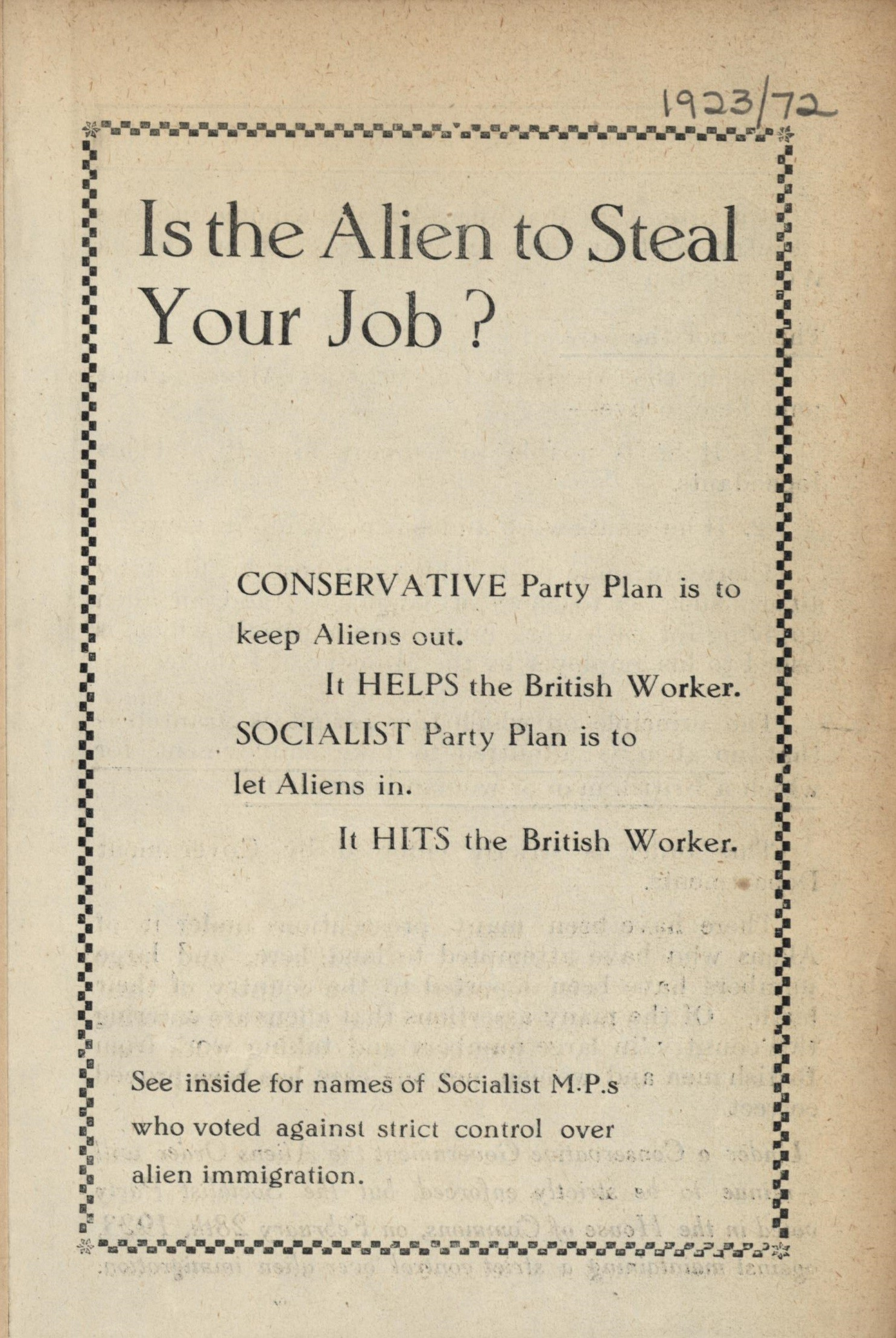 Is the Alien to Steal youy Job? Leaflet