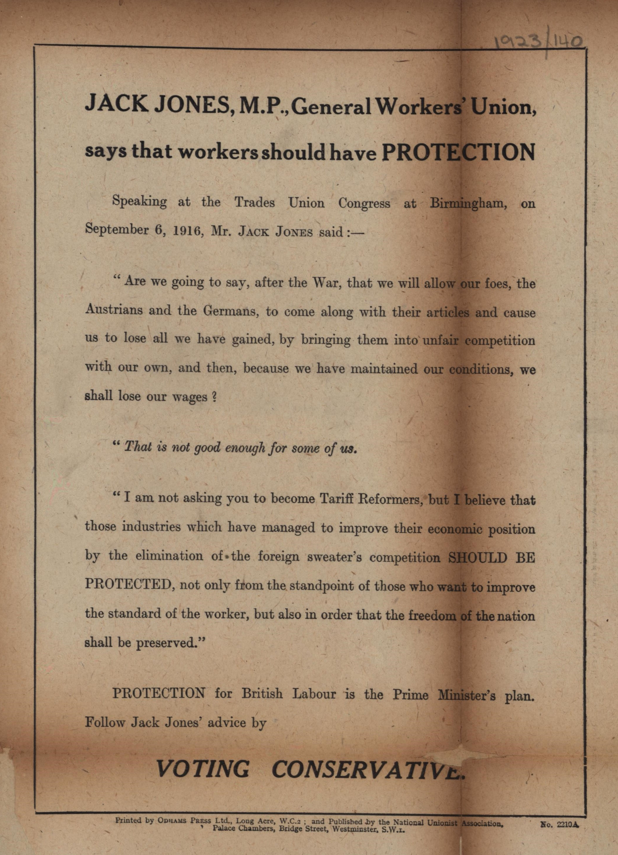 Jack Jones and Protectionism Leaflet