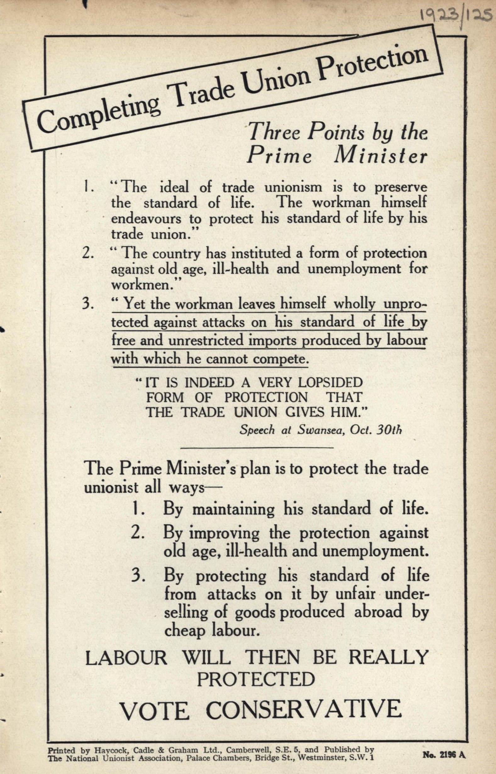 Union Protectionism Leaflet