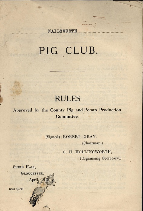Rulebook of Nailsworth Pig Club, from the Sir Stafford Cripps archive at the Bodleian Library [sc22/1c]