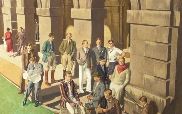 Painting of Oxford students entitled 'Conversation Piece, Worcester College' by Edward Halliday