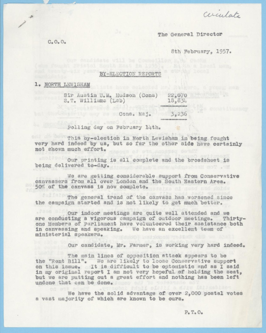 Scanned image showing the first page of a report on the Conservative Party's prospects in the Lewisham North by-election, 1957.