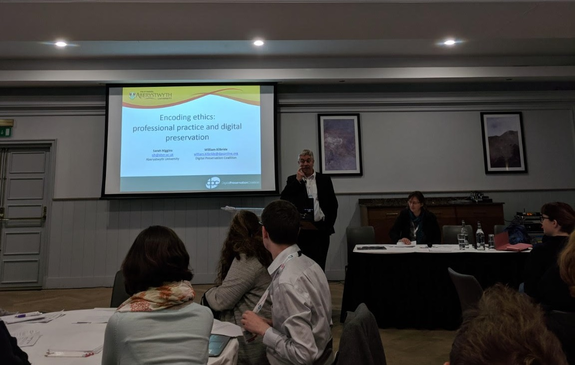 "Image of William Kilbride and Sarah Higgins running their workshop ""Encoding ethics: professional practice digital preservation"", ARA Annual Conference 2018, Glasgow"