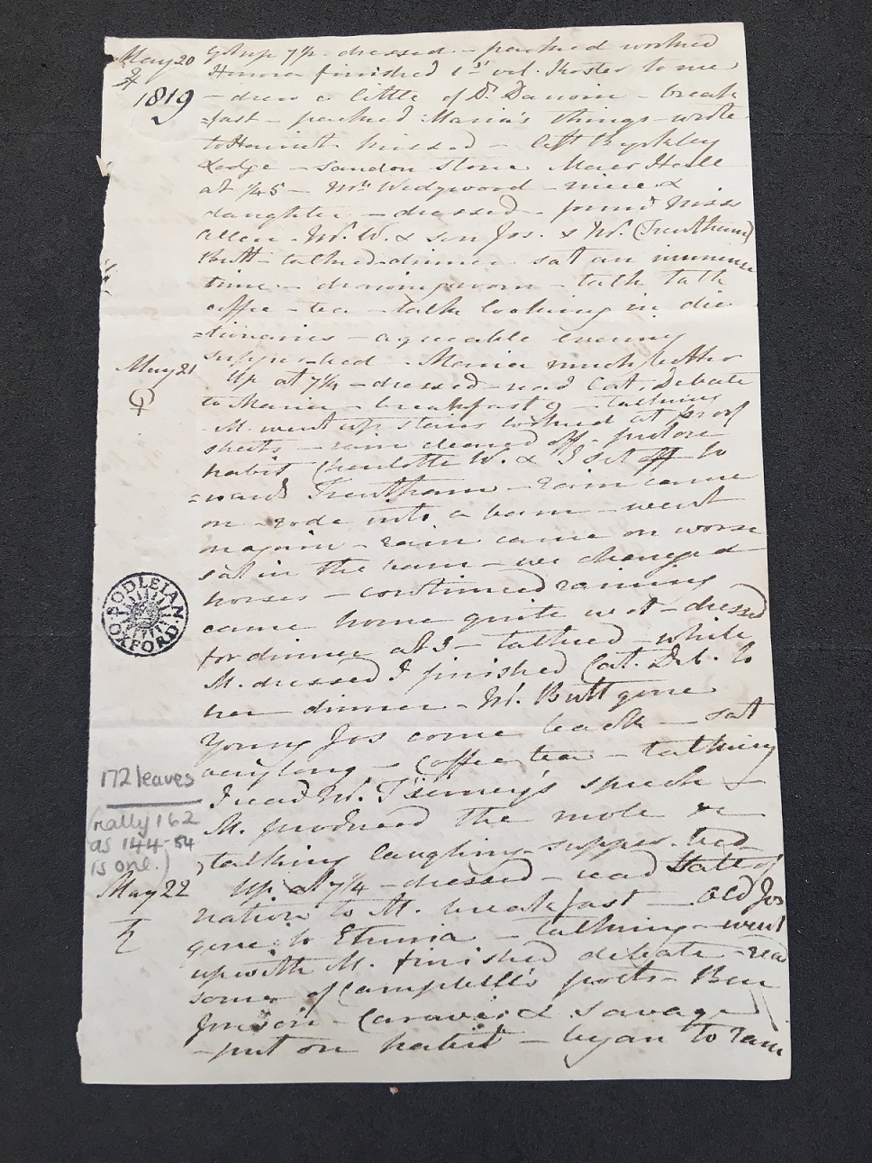 First page of May 1819 (MS. Eng. Lett. c. 744 fol. 130)