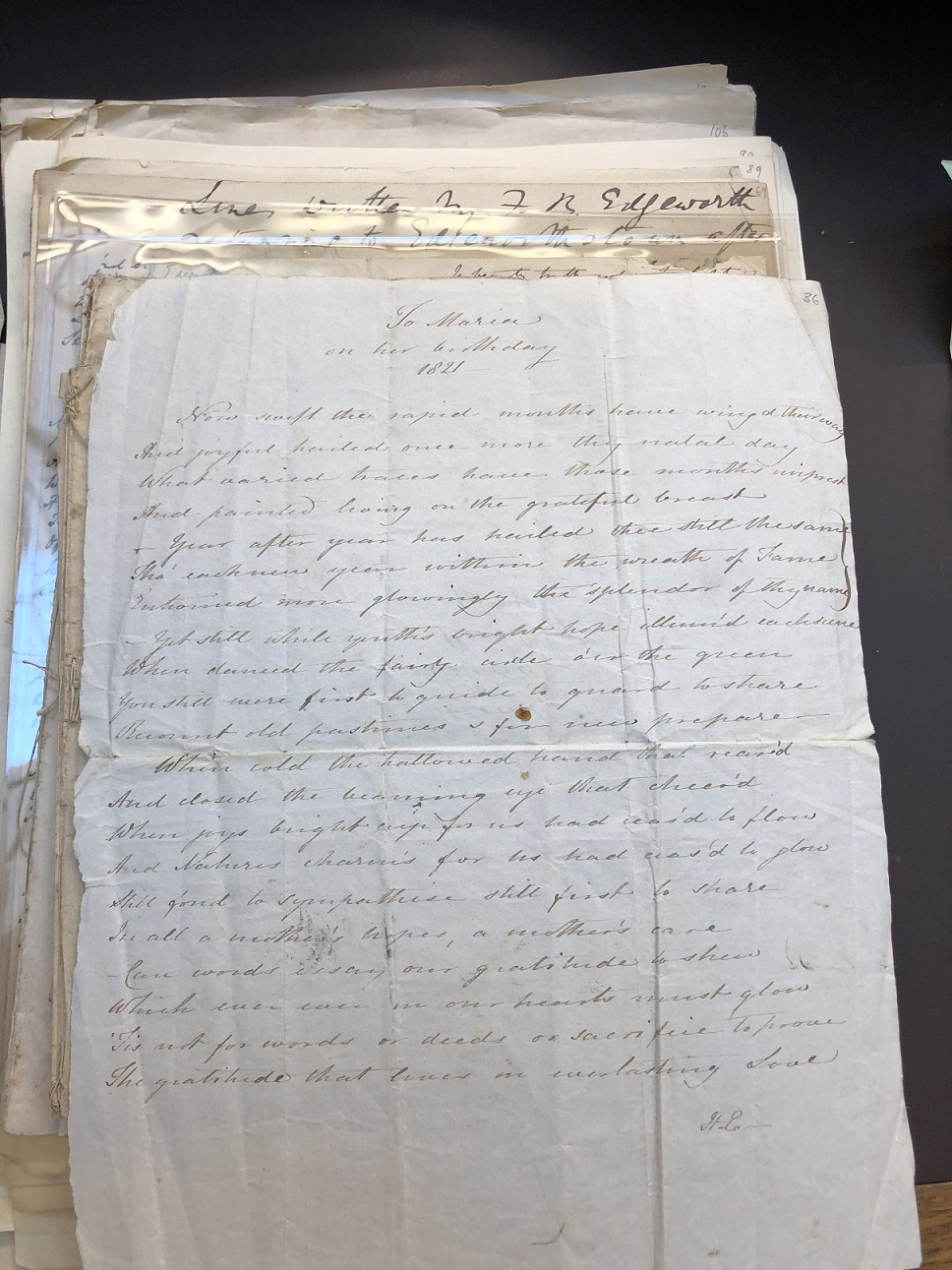 "Image of ""To Maria on her birthday 1821"""
