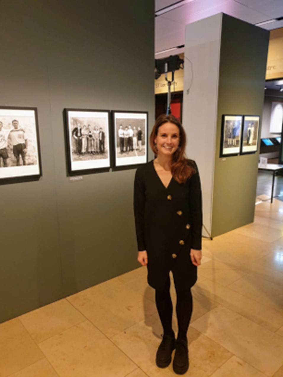 Kelly Burchmore in front of the Daniel Meadows display, Weston Library, Oct 2019