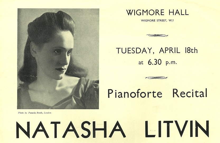 Programme for a piano recital by Natasha Litvin (later Spender) in 1944, from MS. 6647/54