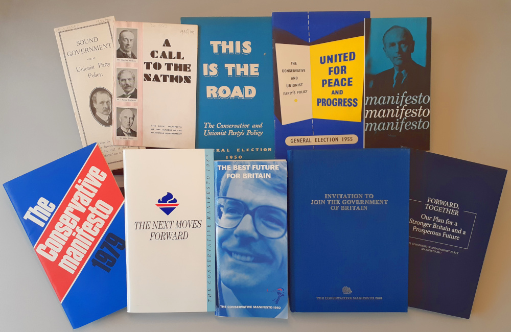 A selection of the Conservative Party Archive's holdings of general election manifestos.