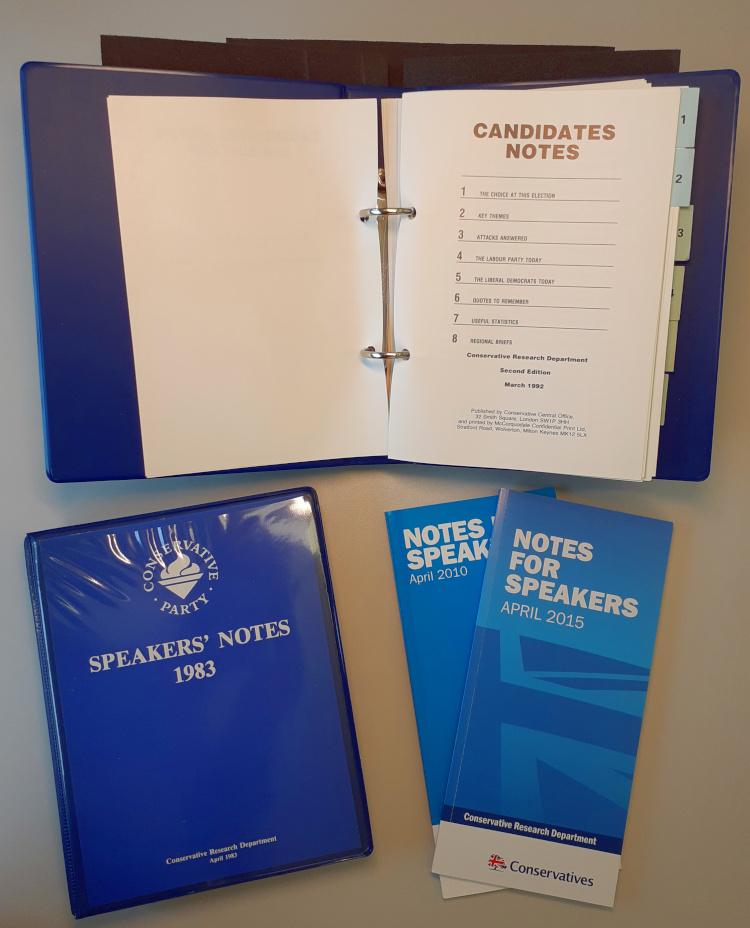 Pictured: copies of Speakers' Notes (and later titles) produced for the 1983, 1987, 2010 and 2015 general elections.