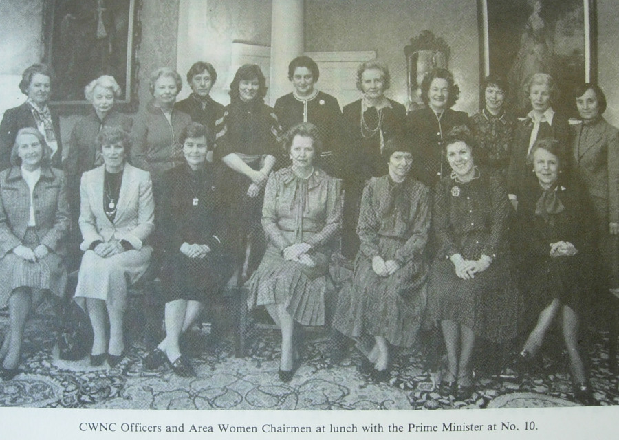 Pictured: photograph fficers of the Conservative Women's National Committee with Margaret Thatcher, published in the Conservative Women's Conference Handbook, 1983.