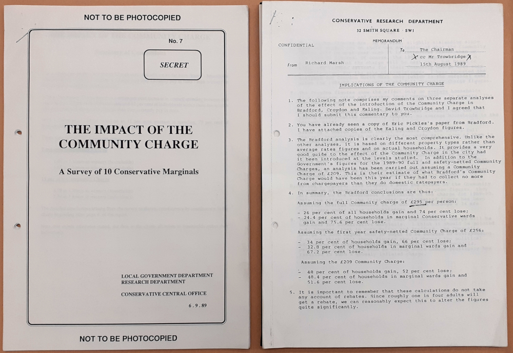 Image shows Conservative Central Office Local Government Department file on the political impact of the Community Charge (Poll Tax), 1989.