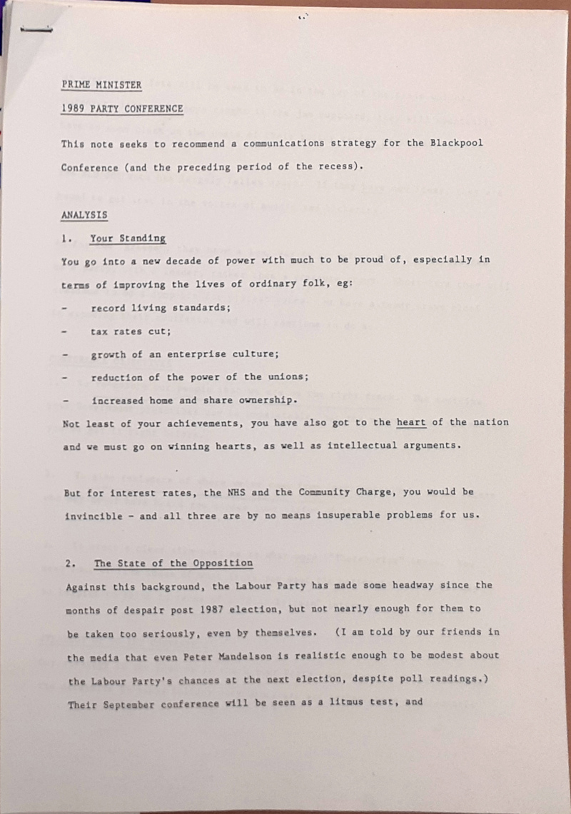 Images shows briefing note prepared for Margaret Thatcher by Brendan Bruce, the Party's Director of Communications, ahead of the 1989 Conservative Party Conference.