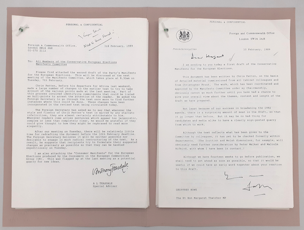 Image shows Draft copies of the Conservative Party manifesto for the 1989 European Elections, Feb 1989. The copy on the right is under a covering letter from Foreign Secretary Sir Geoffrey Howe to Prime Minister Margaret Thatcher.