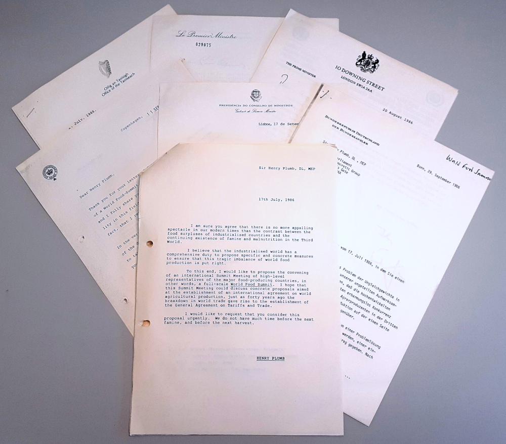 Image shows the text of a letter from Sir Henry Plumb proposing a World Food Summit, 17 Jul 1986, with responses from world leaders.