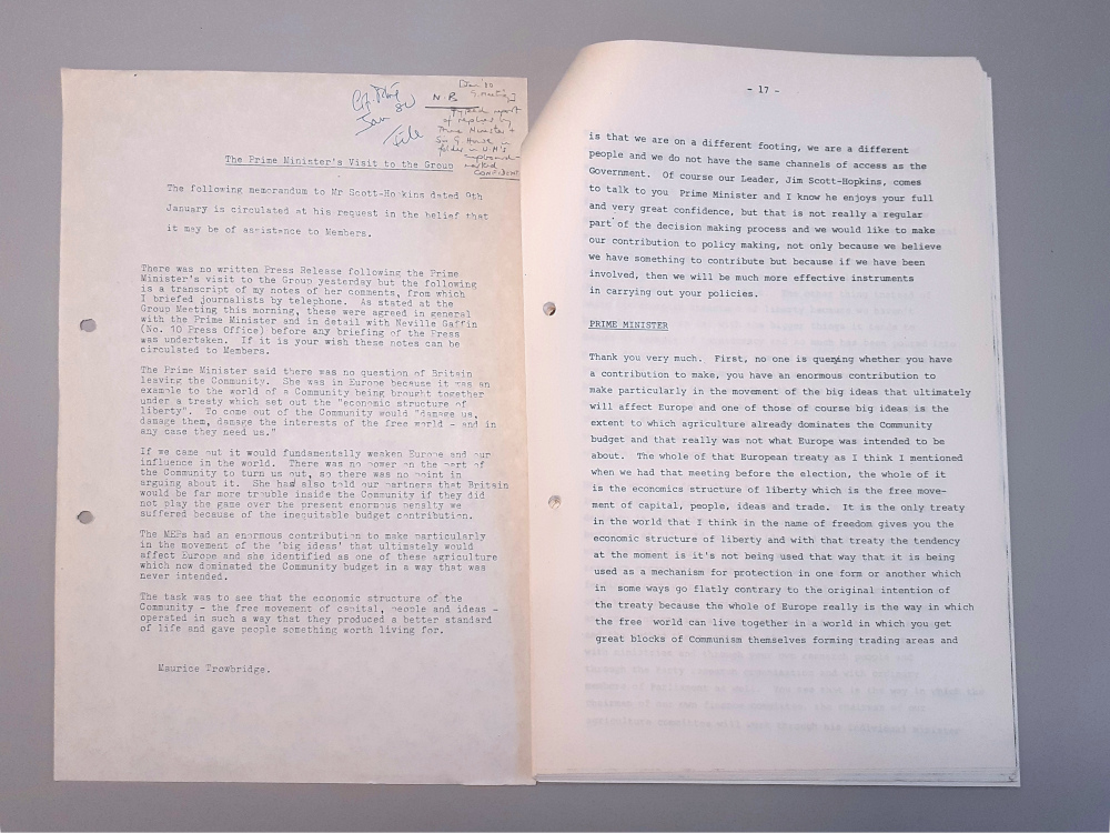 Image shows European Democratic Group meeting papers, Jan 1980, showing part of a transcript of Prime Minister Margaret Thatcher's meeting with Conservative MEPs on 8 Jan 1980, with covering memorandum dated 9 Jan 1980.