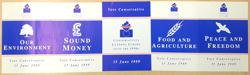 Image shows 5 Conservative Party leaflets for the 1989 European Elections.