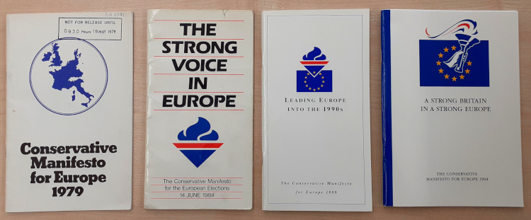 Image shows Conservative Party European Election Manifestos, 1979-1994.