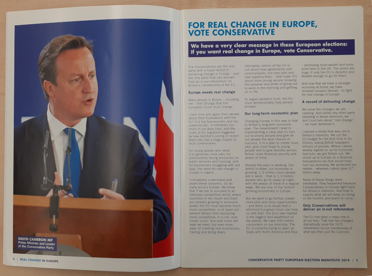 Image shows interior pages of the Conservative Party European Election Manifesto 2014. [Reference: CPA PUB 332/8].