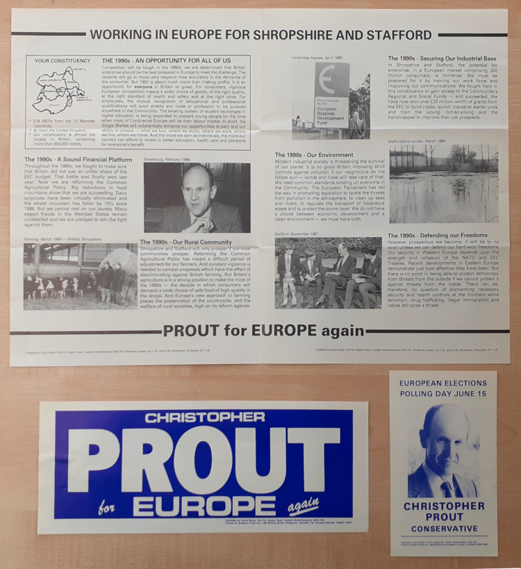 Image shows the election address and campaign ephemera of Chistopher Prout, Leader of the Conservatives in the European Parliament, at the 1989 European Elections. [Reference: CPA PUB 581/3/4/7].