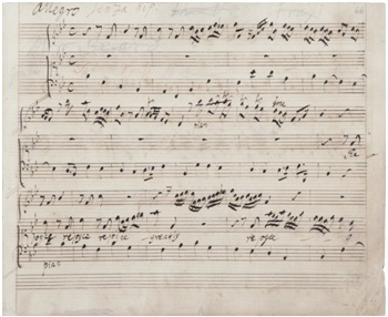 A page from Handel's conducting score of 'Messiah', in the composer's hand.