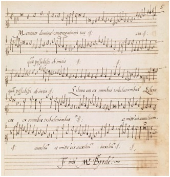 The Cantus part of William Byrd's motet 'Memento Domine'