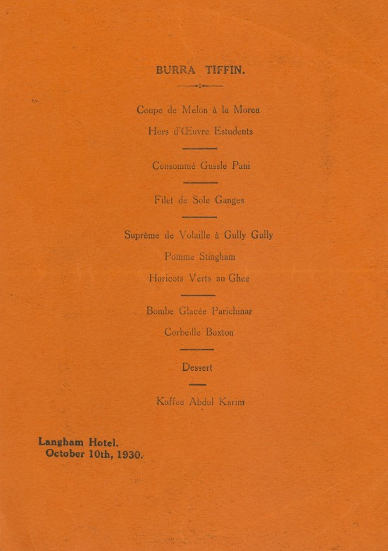 A menu from the Langham Hotel, 10 Oct 1930