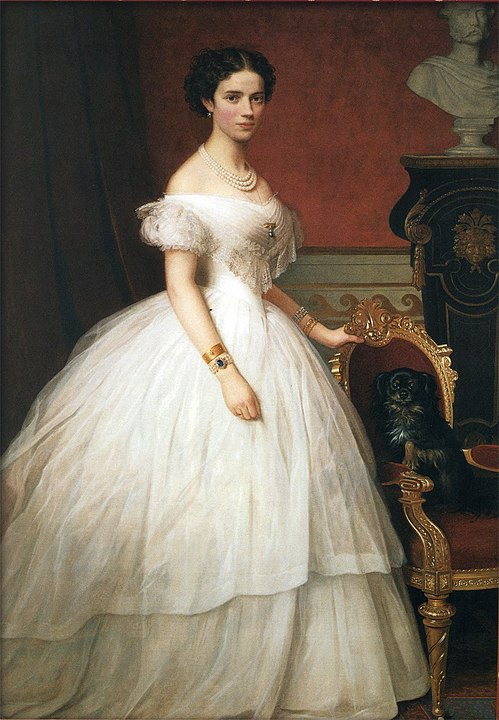 Painting of Princess Dagmar of Denmark wearing a crinoline in the 1860s, by A. Hunæus, Public Domain, Wikimedia Commons [https://commons.wikimedia.org/w/index.php?curid=32440689]