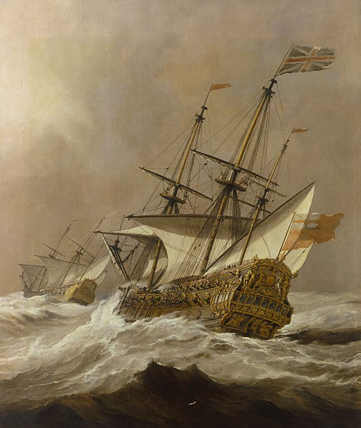 Oil painting of the HMS Resolution, a third-rate Royal Navy ship of the line, sailing in a gale, c. 1678 [by Willem van de Velde the Younger, Public domain, via Wikimedia Commons]