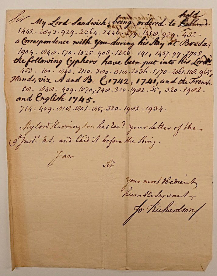 Deciphered diplomatic code in a letter to Thomas Villiers, later 1st Earl of Clarendon, 12 Aug 1746
