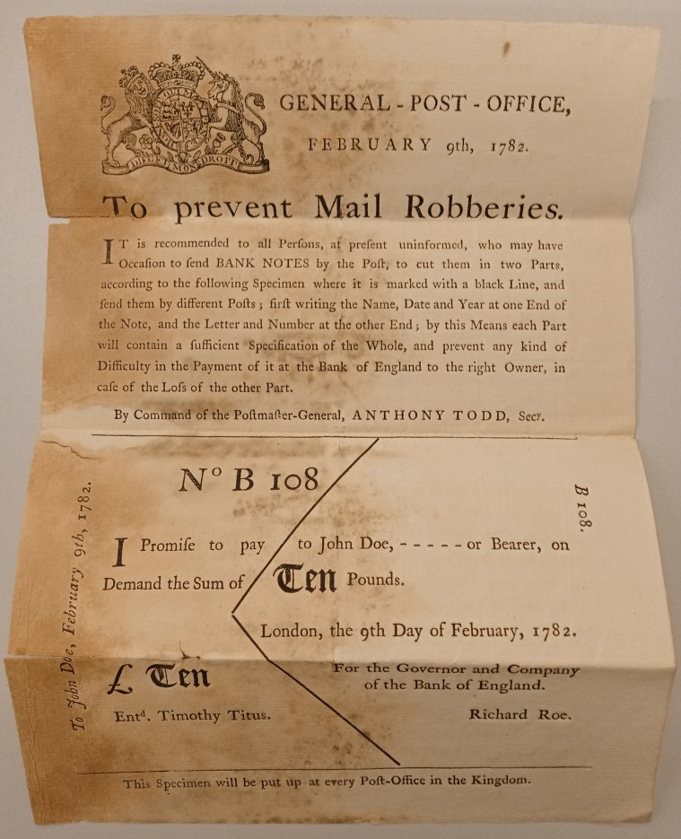 A United Kingdom General Post Office printed poster on how to securely send bank notes through the post, 9 Feb 1782