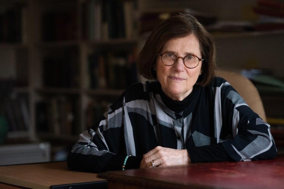 Photograph portrait of Professor Dame Hermione Lee, by John Cairns (2020)