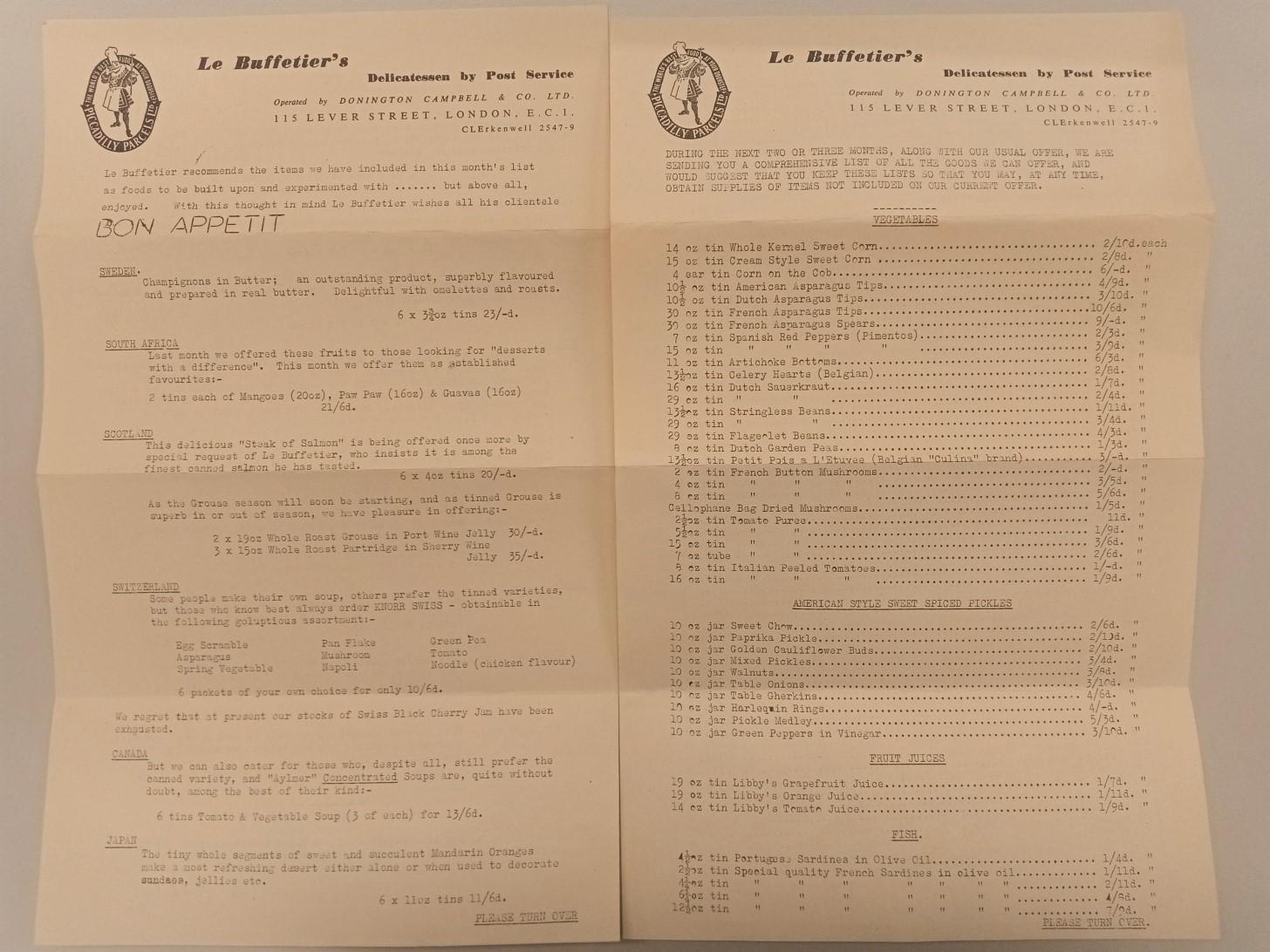Typescript catalogue of Le Buffetier's Delicatessan, London, Sep 1954