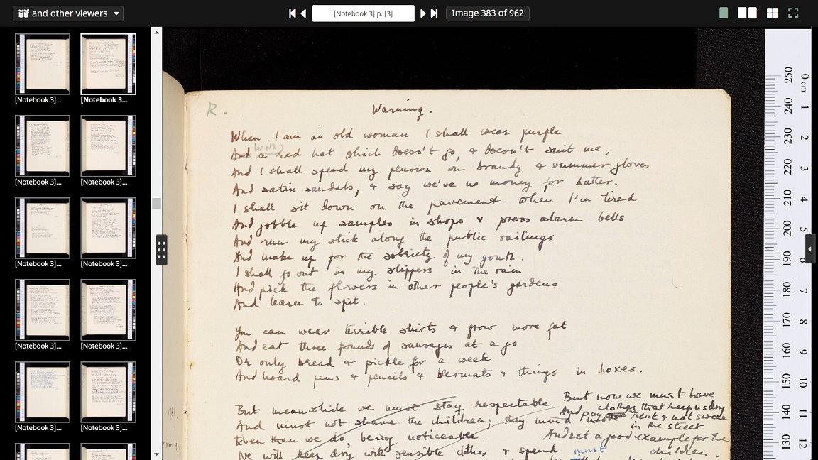 Digitised copy of 'Warning', from Jenny Joseph's poetry notebooks [MS. 12404/41]
