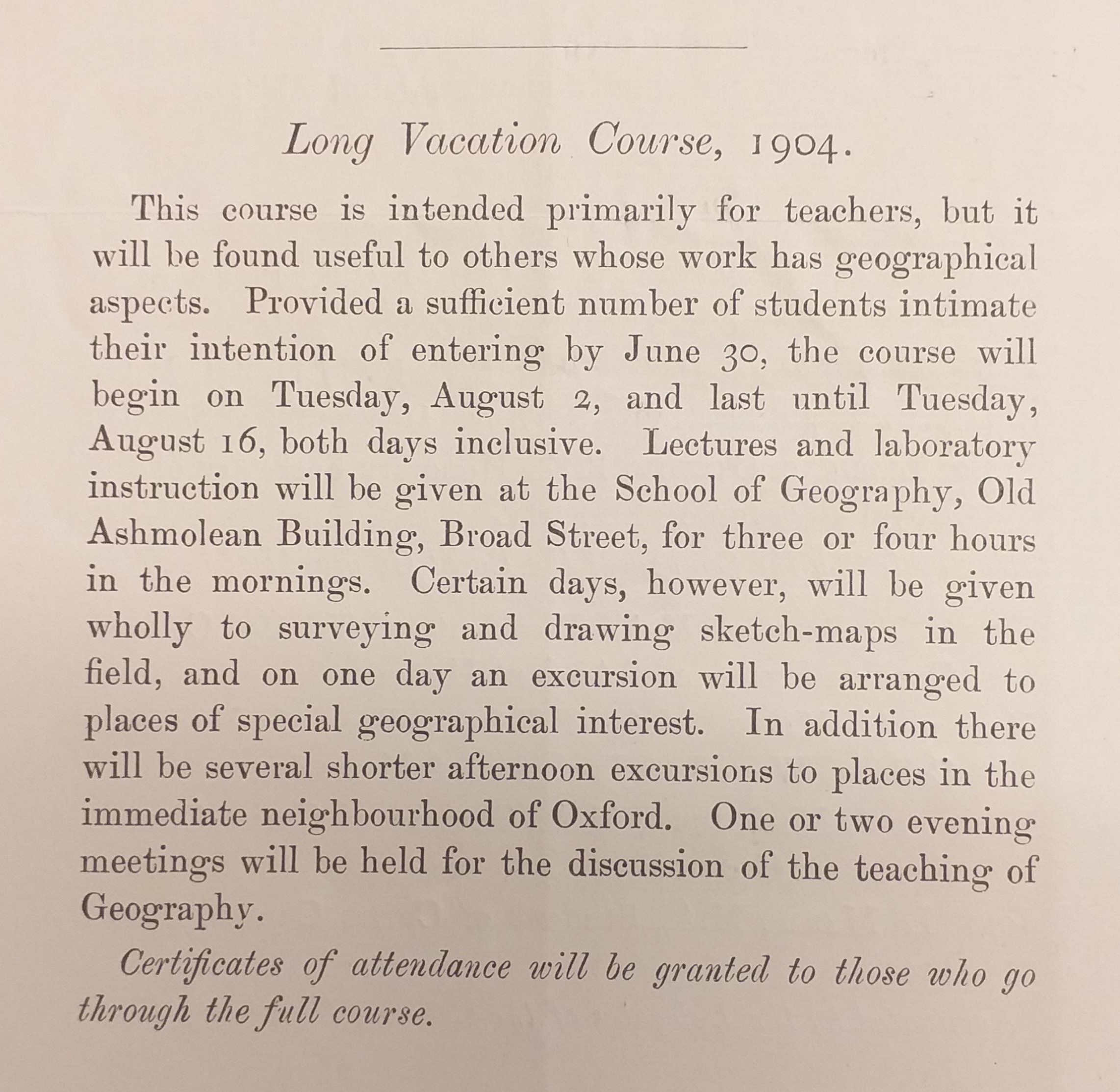 1904 vacation course details