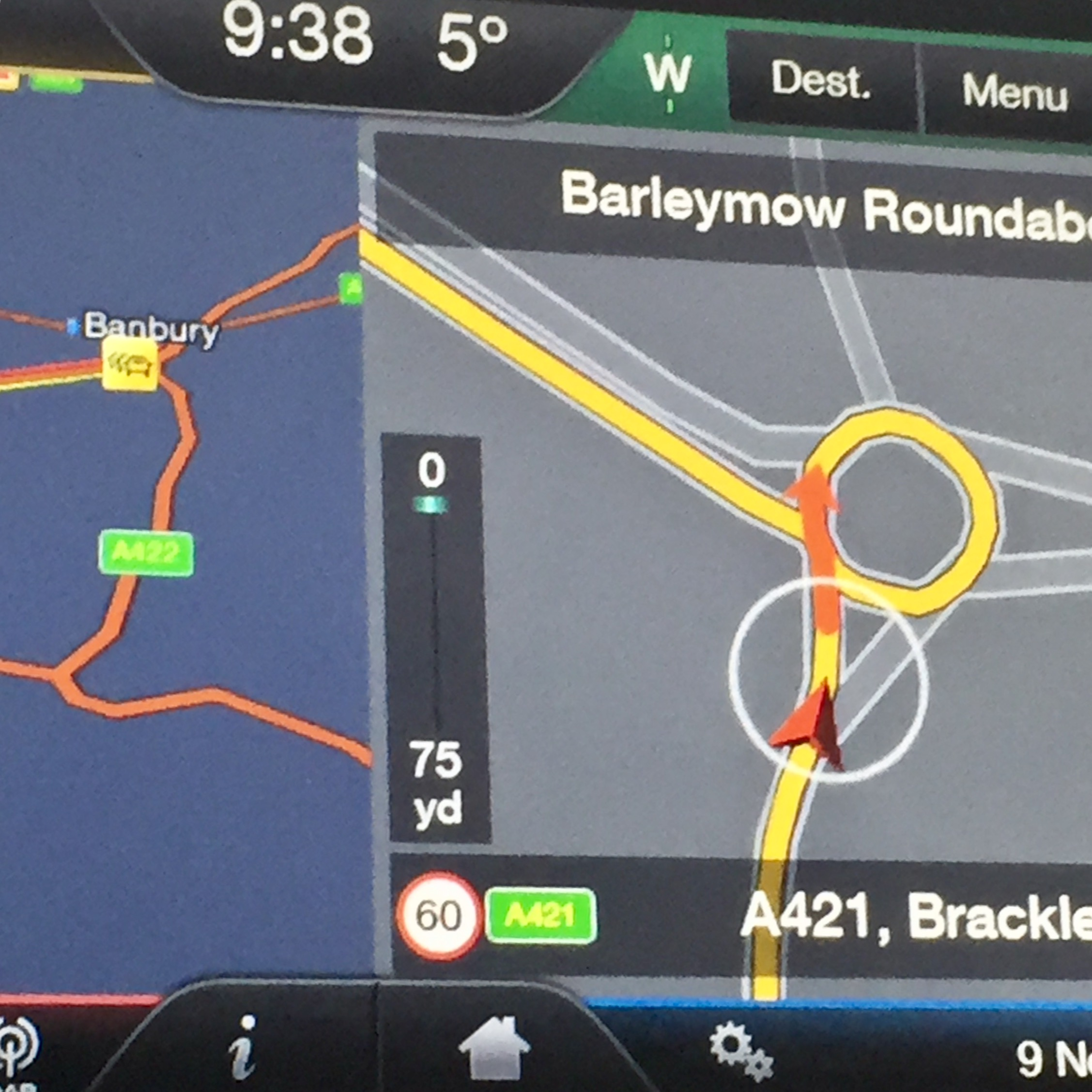 Satnav misbehaving complicating what is usually a simple left turn at a roundabout. Image credit: Somaya Langley.