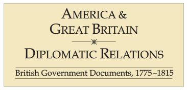 America and Great Britain diplomatic relations - title pg