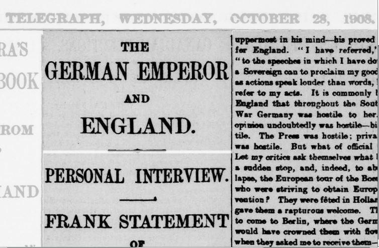 Telegraph trial - Kaiser Wilhelm snippet 28 Oct 1908